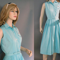 Vintage Dress 60s Turquoise Belted Shirtwaist NOS Cute Turtle Applique S M