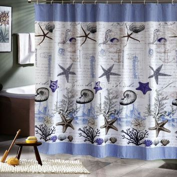 Fabric polyester blue sea life seashell waterproof shower curtain thicken shower curtain bathroom curtains
