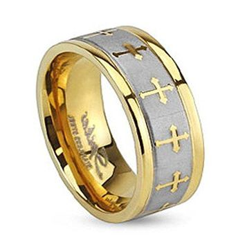 Stainless Steel Two Tone Gold IP Wedding Band with Celtic Cross Design Brushed Center Finish Ring Width of 6MM