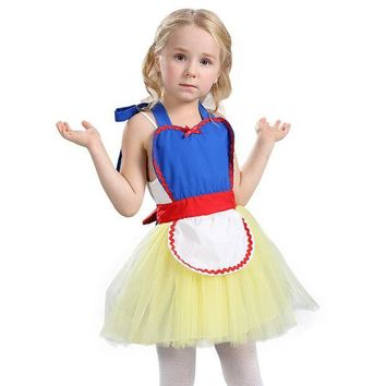 DCCKH6B Comfortable Child Cute Snow White Princess Tutu Apron Costume Great For Bakery Or Themed Party Play Dress-Up Easy To Take Off