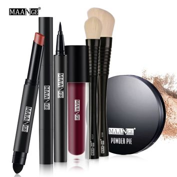 MAANGE 1 Set  Makeup set Tool Kit  Gift Eyeliner Lipgloss Pencil Sexy Lipstick makeup brushes power Cosmetic + Silicone puff