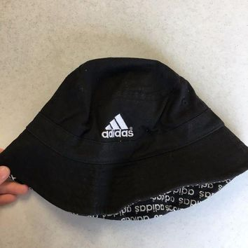 DCCKIHN BRAND NEW ADIDAS BLACK WITH LOGOS UNDER BRIM BUCKET HAT YOUTH FIT SHIPPING