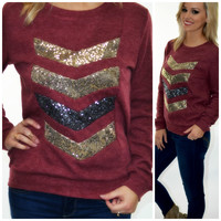 Cupid's Arrow Burgundy Sequin Chevron Sweater