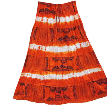 Sexy Women's Skirts Tiered Orange Tie Dye Bohemian Full / Maxi / Long Cotton Skirt