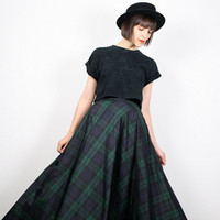 Vintage 90s Maxi Skirt Dark Green Navy Blue Black Plaid Tartan Silk Taffeta Skirt High Waisted Skirt Soft Grunge Punk Skirt XS Extra Small