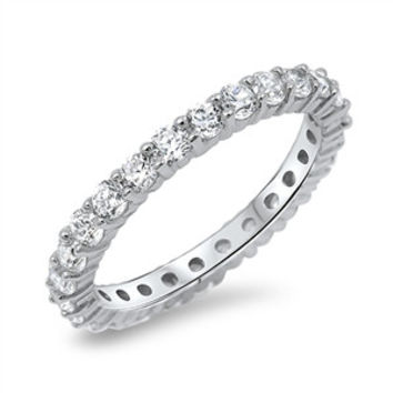 A Perfect 3TCW Russian Lab Diamond Wedding Bands Eternity Ring