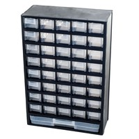 Stalwart 17.5 in. 41-Compartment Hardware Storage Box, Black-75-7422 - The Home Depot