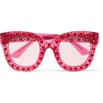 Gucci - Crystal-embellished square-frame acetate sunglasses