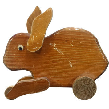 Rabbit Pull Toy Vintage Primitive Wooden Hare Wood Animals On Wheels Bunny Decoration Rustic Old Country Farmhouse Shabby Cottage Chic Decor