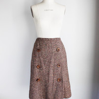 Vintage 1950s 1960s Brown Wool Tweed Skirt, Sloat & Co