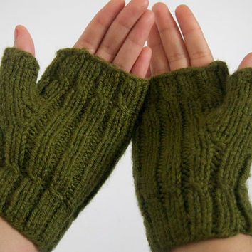 custom woolfree fingerless mittens made by hand -- the digitorum in olive