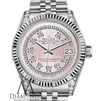 Barbie Metallic Pink Rolex 31mm Datejust 18K WG & SS Silver with String Diamonds