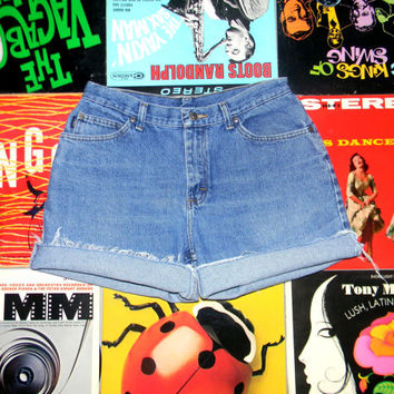 High Waisted Denim Shorts - 90s Stone Washed CHIC Brand Jean Shorts - Cut Off, Frayed, Rolled Up, Faded, Distressed Perfectly Worn Size 10 M