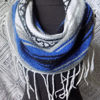 Striking Blue Mexican Blanket Large Cowl Scarf With Long Fringe- Free Shipping to Continental US