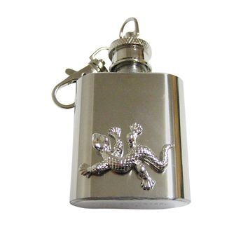Gecko Lizard 1 Oz. Stainless Steel Key Chain Flask
