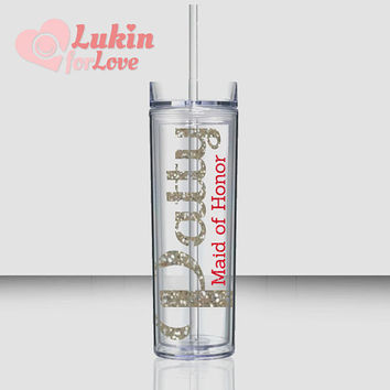 2 Glitter Personalized Tumblers - 16 oz Skinny Style / Bridesmaid Gift / Bridal Party Tumblers / Bride Tumbler / Wedding Tumbler
