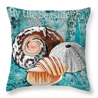 "By the Seaside Original Coastal Painting Colorful Urchin and Seashell Art by Megan Duncanson 14"" x 14"" Throw Pillow for Sale by Megan Duncanson"