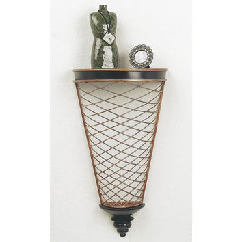 Dr. Livingstone I Presume DLW512BLKIGLD Black and Italian Gold Large Iron Demilune Wall Shelf