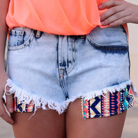Tribal Beauty Shorts: Aztec Denim