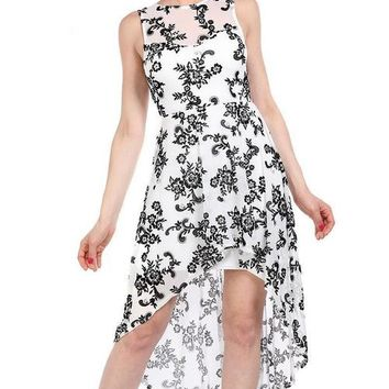 Black Floral Emboss White Low High Dress