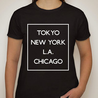 "5 Seconds of Summer 5SOS ""Money - Tokyo NY LA Chicago"" Box T-Shirt"