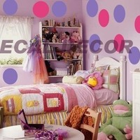 Vinyl Wall Art 26/10 inch LARGE Polka Dots Circles Vinyl Wall Decal Sticker Wall Decor Appliques