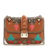 valentino - lock small embroidered leather shoulder bag