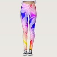Amazing multicolored lily flower leggings