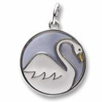Swans A Swimming Charm In Sterling Silver