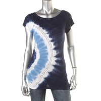 INC Womens Ribbed Knit Tie-Dye Casual Top