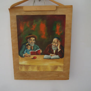 Torah Study Jewish Orthodox Original Painting  Signed Ida Galili Israel Vintage Art Oil Painting