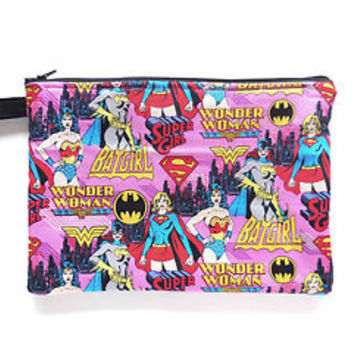 DC Comics Large Zipper Pouch Padded Bag Superhero Wonder Woman Bat Super Girl