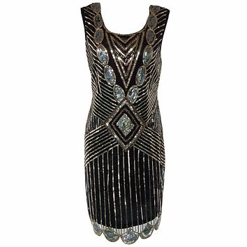 Women's Vintage 1920s Sequined Beaded Back Deep V Great Gatsby Flapper Party Dress 2017 Summer Sleeveless Mini Sundress