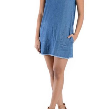 Women's Washed Denim Shirtdress RSD385