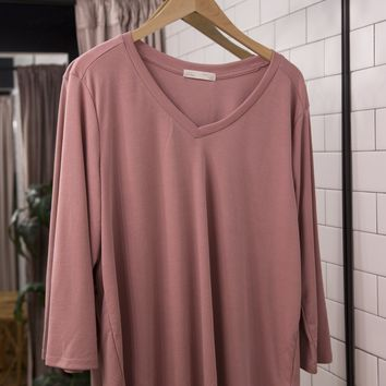V-neck Basic Tee, Dusty Rose