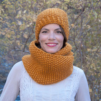 Chunky knit infinity scarf, circle scarf, cowl, hood, golden butterscotch
