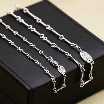 Factory S925 Sterling Silver Jewelry Fine Necklace Ladies Version Of Clavicle Fish Bone Chain Thai Silver Ch Chain