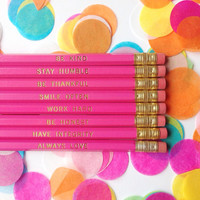 Be Kind, Stay Humble, Be Thankful, Work Hard, Set of 8 Pink Hexagon Pencils, Gold Foil Pencils, Personalized Pencils, Engraved Pencils