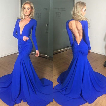 V-Neck Prom Dresses,Royal Blue Prom Dress,Long Evening Dress