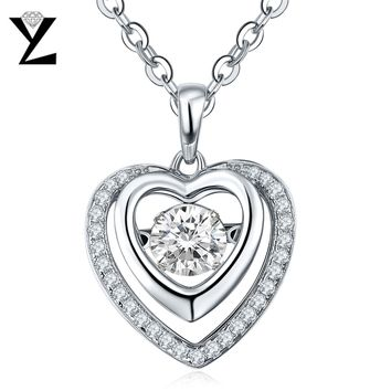 YL Love Heart Dancing Pendant Necklace for Women Fine Jewelry Real Pure Statement Choker Necklaces Best Friends Pendant