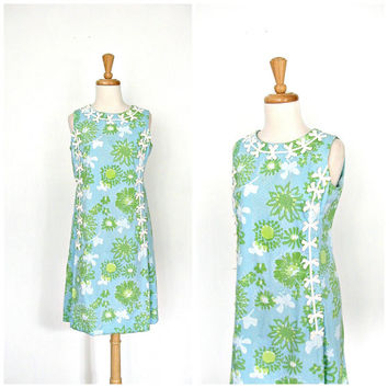 1960s Shift Dress / 60s dress / Lilly Pulitzer / cotton day dress / sheath / preppy / vacation dress / blue floral dress / sundress / Medium