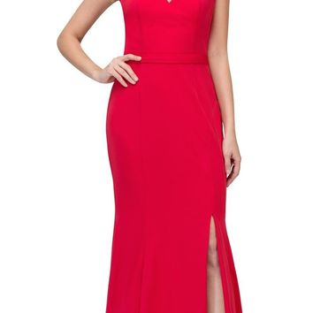 Red Cut-Out Neckline Mermaid Long Prom Dress with Slit