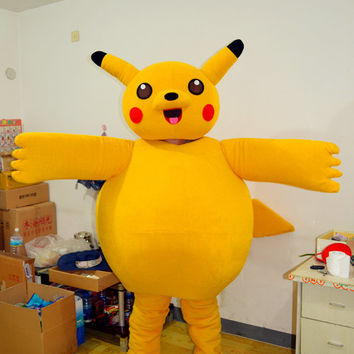Pokemon Pikachu Mascot Costume,Cosplay Costume, Cartoon Costume,Animal Costume,Adults Costume,Party Costume for Halloween,Christmas,Birthday