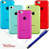 Teviwin(TM)(A107) Bundle of 5 New Clear Jelly Color Flexible TPU Gel Case Cover for iPhone 5C (Blue, Cyan blue, Hot pink,Green, Purple)