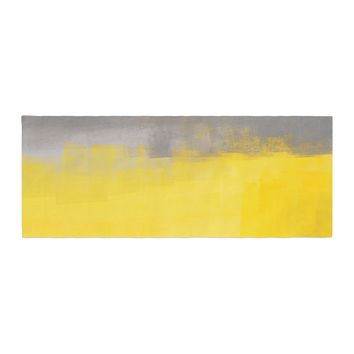 "CarolLynn Tice ""A Simple Abstract"" Yellow Gray Bed Runner - Outlet Item"