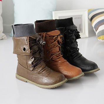 Soft Leather Flats Motorcycle Boots Women 2215