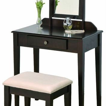 Vanity Table Bench Mirror Set Dark Brown Espresso