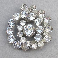 Brilliant Sparkle Signed WEISS Vintage Rhinestone Swirl Pin