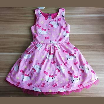 New Baby Girl Dress Infant Hello Kitty Dress Summer Children Kids Cute Cotton Sleeveless Lace Dressed Baby Girl Clothes