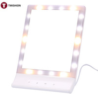 "8.4""x11.8"" Makeup Mirror 18 LEDs Light Professional Vanity Mirror 90 Degree Rotating Tabletop Touch Screen Mirror"